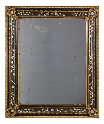 Pair of Ebonised Wood Mirrors, 18th Century