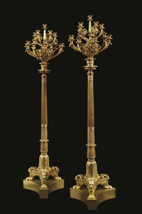 Pair of monumental chiselled candelabra, ca. 1830