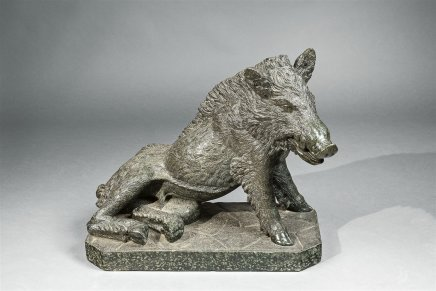A Serpentine Marble figure of a boar, after the one in the Fontana del Porcellino in Florence, Italy, 19th Century