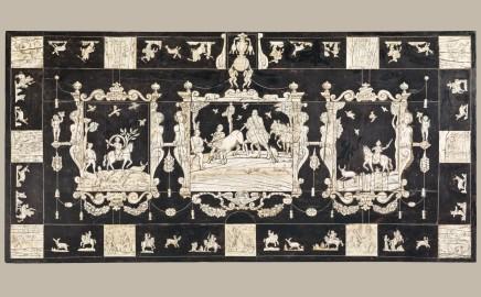 A Pair of Italian ebonized wood and ivory tables, ca. 1640/50