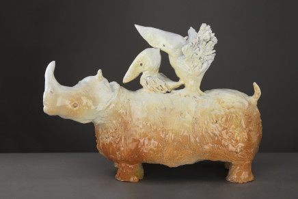 Carla Tolomeo, Glazed terracotta figure of a Rhino with a Pelican, 2012