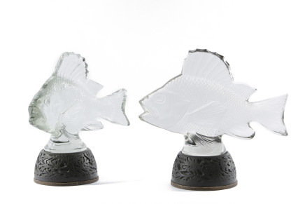 Two Lalique Fishes with their original wooden bases, Early 20th Century