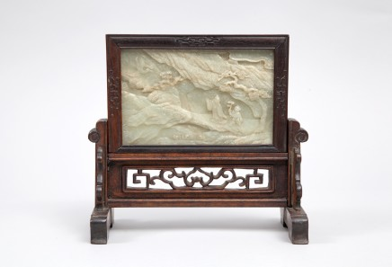China, A grey jade plaque on a wood base, Qing Dynasty, Jiaqing Period (1760 – 1820)