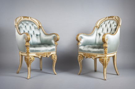 Four white painted and giltwood armchairs, Piemonte, first half of 19th Century