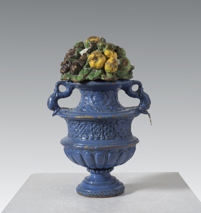 Giovanni della Robbia, Decorative amphora vase with lid of fruits, flowers and animals, Florence, ca. 1520