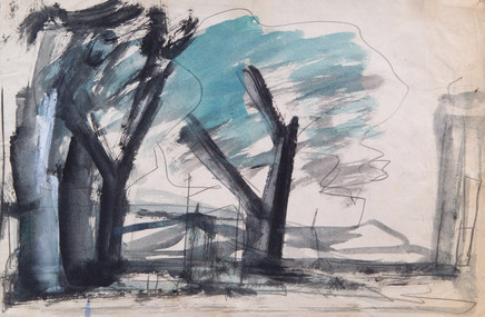 Mario Sironi, Composition with trees, 1950 circa