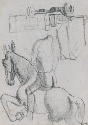 Mario Sironi, Composition with Horse and Knight, Truck and Houses, 1920