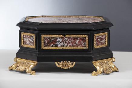 An Italian ormolu-mounted, jasper and ebony casket, late 17th Century