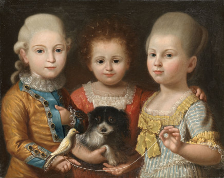 Portrait of Prince Francesco Barberini and his sisters, Roman School, 1785