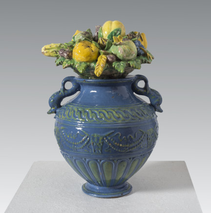 Giovanni della Robbia, Decorative amphora vase with lid of fruits, flowers and animals, Florence, ca. 1510