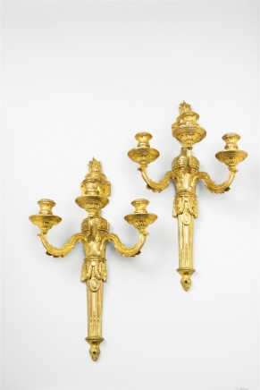 A pair of Louis XVI ormolu wall lights, Paris, ca. 1770