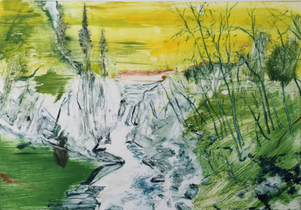 Calum McClure, Waterfall at Dusk, Yellow