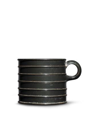 Greek black-glaze ribbed mug, Athens, c.475-425 BC
