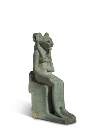 Egyptian amulet of an enthroned Sekhmet, Late Dynasty Period, 26th-31st Dynasty, c.664-332 BC