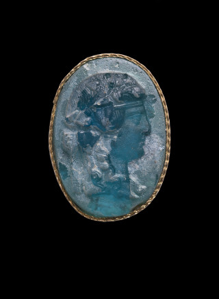 Roman cameo with profile head of Bacchus, Late 1st century BC
