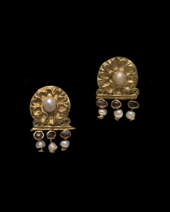 Roman repoussé earrings, c.2nd-3rd century AD
