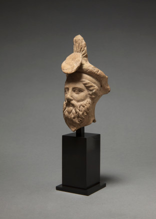 Greek male head of a banqueter, Taranto, c.400-301 BC