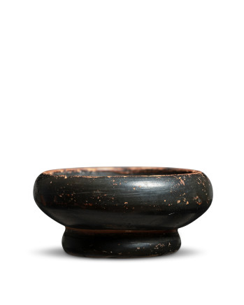 Greek black-glaze stemless salt, 4th century BC