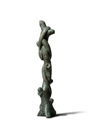 Roman sculpture of a tree trunk and snake, 1st-2nd century AD