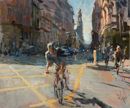 Rob Pointon AROI RBSA MAFA, Cyclist, Oxford Road