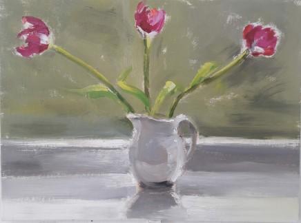 Liam Spencer, Tulips in a Grey Jug