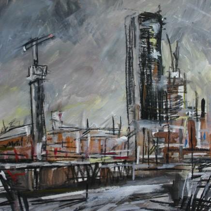 Matthew Thompson, Grey Sky, Cranes, 2019