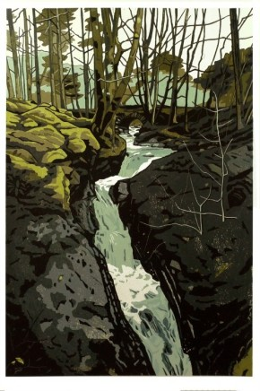 Ann Lewis RCA, Small Rushing Stream on a Damp Mossy Day, Haford Gau