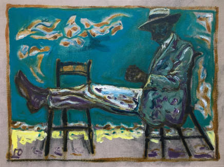Billy Childish, Man on Chairs (version X), 2012