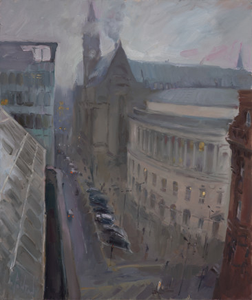Rob Pointon ROI RBSA MAFA, January Mist over Manchester Town Hall, 2020