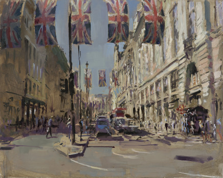 Rob Pointon AROI RBSA MAFA, Union Jacks Above Piccadilly, 2018