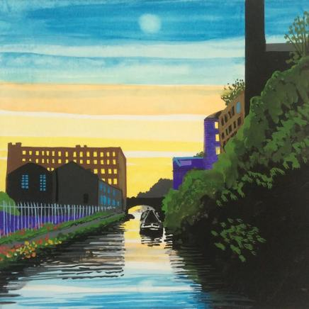 Jean Hobson, Moon Over Manchester / Ashton Canal, 2020