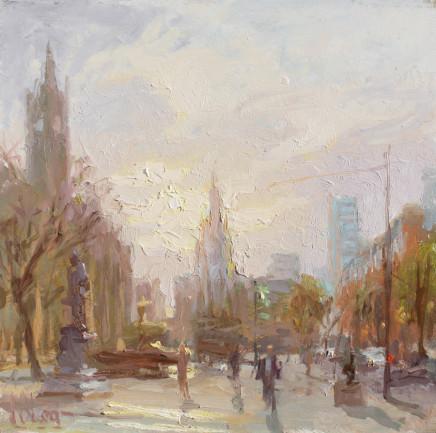 Norman Long MAFA, Winter Sun, Albert Square, 2020