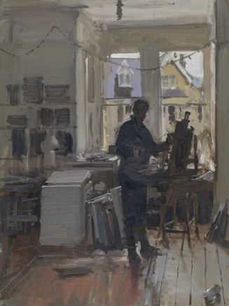 Peter Brown ROI NEAC, Self Portrait in the Studio, Rainy Day