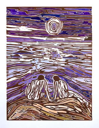 Freya Douglas-Morris, Lands End - Woodcut no 2, 2020