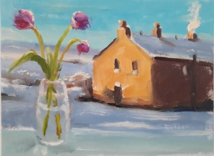 Liam Spencer, Tulips and Snow-Covered House, 2020