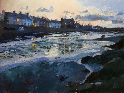 Anne Aspinall MAFA, Lights in the Windows, Aberffraw, 2020