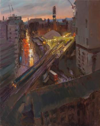 Rob Pointon ROI, Red Sky Morning over Oxford Road, 2020