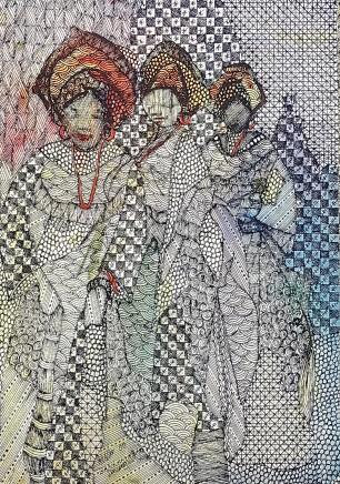 Nike Davies-Okundaye, Dancers with Joy, 2002