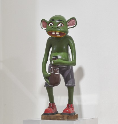 George Lilanga, Green Shetani with calabash and red shoes, c1990s