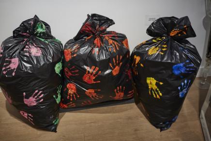 M - Marie Geneviève Morin, Black sacks painted installation, 2017
