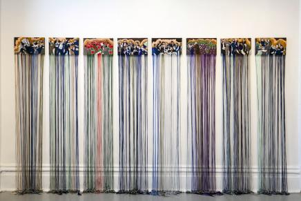 Ursula Burke, Embroidery Frieze - The Politicians (9 panels), 2016-2020