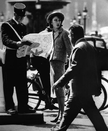 William Klein, Model + Policeman, Chanel, Paris (Vogue), 1957