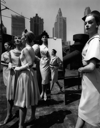 William Klein, Evelyn, Isabella, Nena + Mirrors on the Roof, New York (Vogue), 1962