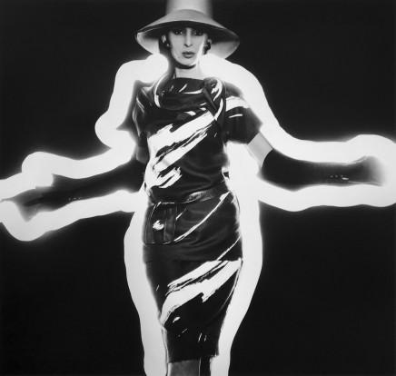 William Klein, Benedetta Barbini + Zebra-Striped Dress + Light, Paris (Vogue), 1962