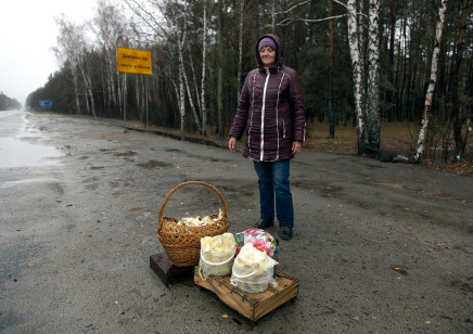 Quintina Valero, A woman sells mushrooms in the road, 2015