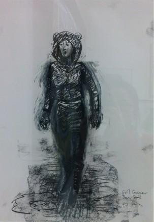 Ed Gray, Girl Gunner Bear Coat (Study for Arsenal Adoration at the Emirates), 2014