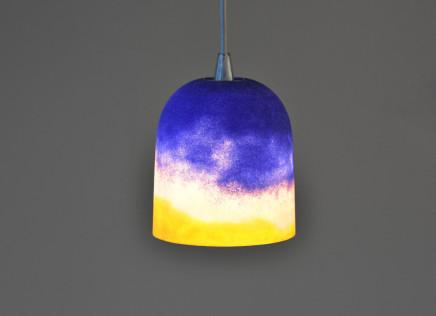 Joshua Kerley, Sinter Pendant Light - Yellow, Pink and Cobalt Striations, 2019