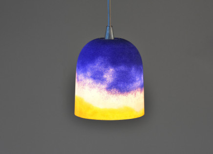 Joshua Kerley, Sinter Pendant Light - Yellow, Pink and Cobalt Striations, 2019