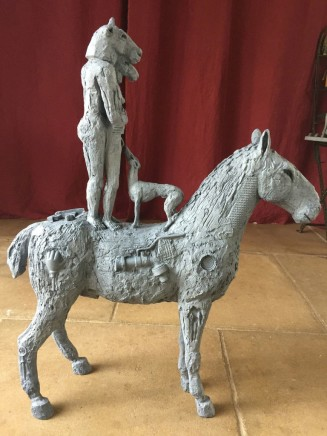 Sophie Ryder, Standing Lovers on Horseback with Dog, 2017