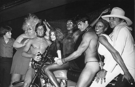 Ron Galella, Grace Jones celebrating her birthday with friends, Julie Budd, Nona Hendryx, Monty Rock, Divinde and 2 go-go boys, Le Farfalle Disco, New York City, 1978